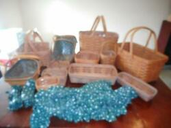 Lot 13 Longaberger Baskets And Accessories - Magazine, Large Market, Swing And Open