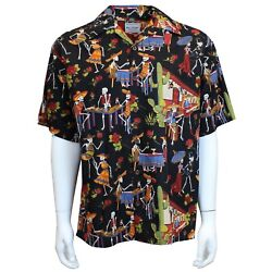 David Carey Day of the Dead Camp Sugar Skulls Hawaiian Button Down Shirt 41503