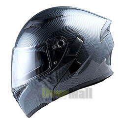 Carbon Fibe Full-face Street Motorcycle Helmets With Drop-down Sun Shield Dot