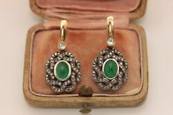 ANTIQUE MY STYLE 14K GOLD EMERALD AND DIAMOND DECORATED AMAZING EARRING