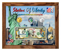 Statue Of Liberty Set 2 Colorized Coin And Currency Set In 8 X 10 Frame