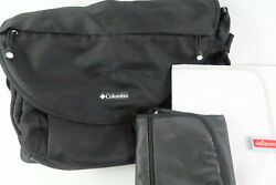 Columbia Outfitter Messenger Diaper Bag Black Adjustable Strap W Extras Pads $16.98