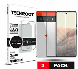Google Pixel 6 / 6 Pro / 5 / 4a [3 Pac] Teckroot Screen Protector Tempered Glass