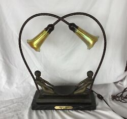Bronze Sculpture Art Deco Lamp By Fayral- Deco Girls-