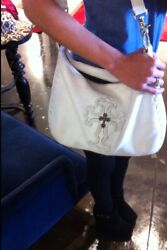 Chrome Hearts Purse Shoulder Bag Womens 925 Silver Cemetery Cross Leather Auth