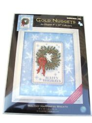 Dimensions Gold Nuggets Elegant Cross Stitch Kit Holiday Happiness Wreath Db