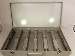 Metal Slide Photo Carrying Case Coin Collecting Vintage 150 Capacity