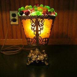 Antique Vintage Unusual Czech Glass Fruit Gilt Metal And Real Mica Lamp—restored
