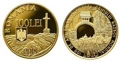 P101 Jubilee 100 Years Since The End Of Wwi Gold Coin Romania 100 Lei 2018