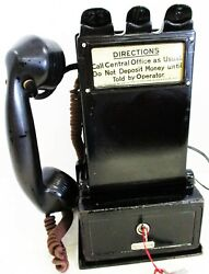 Gray Pay Station / Telephone W/ Handset Model 23d Circa 1900's