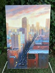 DIANA SHANNON YOUNG Original MODERN CUBIST Urban StreetScape Signed Oil