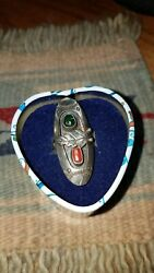 Vintage Sterling Silver Tribal Southwest Turquoise Coral Size 9