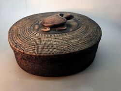 Finely Done Indonesian Lombok Island Coiled Rattan Basket With Carved Sea Turtle