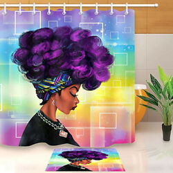 Bathroom Afro African American Black Girl with Purple Fabric Shower Curtain Set