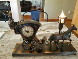 Vintage United Sessions Clock 701 Horse Carriage Hansom Cab