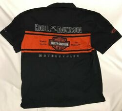 Harley Davidson Motorcycles Front Button Garage/shop Shirt Mens Large Patches