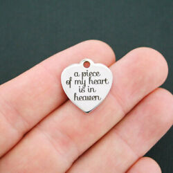 In Memory Stainless Steel Charm - A Piece Of My Heart Is In Heaven - Bfs583