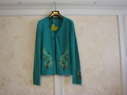 NWT OILILY WOMENS EMBROIDERED FLORAL WOOL CARDIGAN SWEATER M GREEN $45.00