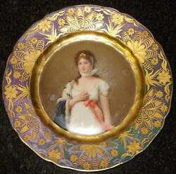 Royal Vienna Dresden Cabinet Plate Queen Louise Signed Wagner Raise Gold Nouveau