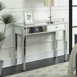 2 Drawer Mirrored Vanity Make Up Desk Console Dressing Silver Glass Table Modern