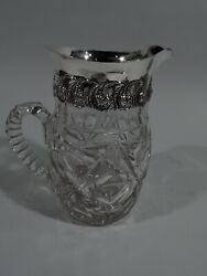 Adelphi Water Pitcher - Antique Edwardian - American Sterling Silver And Cut Glass