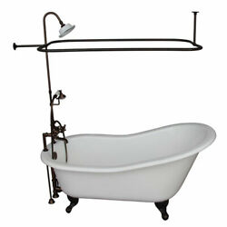 Oil Rubbed Bronze Tub Kit 67-Inch Cast Iron Slipper Shower Unit Supplies and