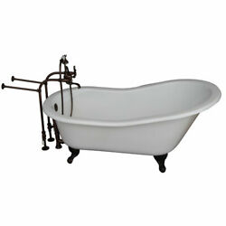 Oil Rubbed Bronze Tub Kit 67-Inch Cast Iron Slipper Tub Filler Supplies and