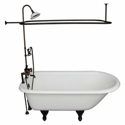 Oil Rubbed Bronze Tub Kit 67-Inch Cast Iron Roll Top Shower Unit Supplies and