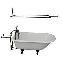 Oil Rubbed Bronze Tub Kit 60-Inch Cast Iron Roll Top Shower Rod Filler