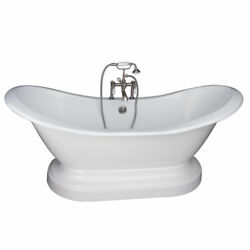 Brushed Nickel Tub Kit 71-Inch Cast Iron Double Slipper Filler Supplies and