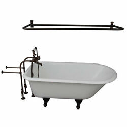 Oil Rubbed Bronze Tub Kit 67-Inch Cast Iron Roll Top Shower Rod Filler