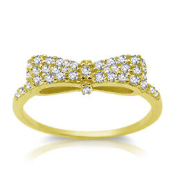 Yellow Gold Plated Clear Cz Ribbon Bow Sterling Silver Ring