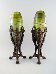 Palme König A Pair Of Art Nouveau Vases Of Irritated, Frosted Clear Green Glass