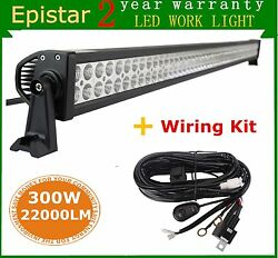 52inch 300w Led Light Bar Combo Off-road Suv Truck For Jeep Driving + Wiring Kit
