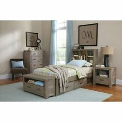 NE Kids Highlands Driftwood Twin Bookcase Bed with Storage - 10060NS