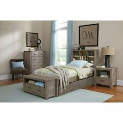 NE Kids Highlands Driftwood Twin Bookcase Bed with Trundle - 10060NT
