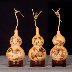 Natural Gourd Exquisite Ornament Handmade Pyrograph Chinese Zodiac Crafts 012