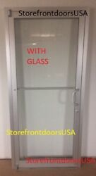 Glass Storefront Door Rh Offset Pivot 3x7 Clear Anodized W/ Glass And Closer