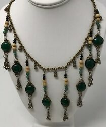 Vintage BIB Style  Ethnic Silver Green Onyx  Stone Festoon Dangle Necklace