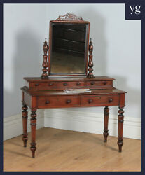 Antique Anglo-Victorian Teak Dressing Make Up Table with Mirror (c.1870)