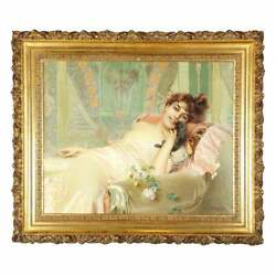 Exceptional French Art Nouveau Oil on Canvas Painting of an Elegant Lady and Pup