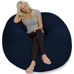 Chill Sack Giant 5and039 Memory Foam Bean Bag With Soft Micro Fiber Cover - Blue