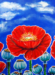 Original Painting Red Poppies Pods Cloudy Sky Flowers Wildflowers Poppy Flower