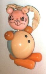 Vintage Figural Bunny Rabbit - Bakelite And Plastic - Jointed Baby Rattle Toy