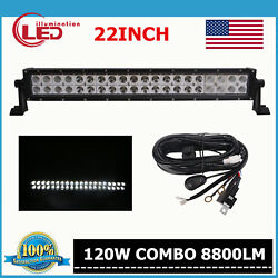 22inch 120w Led Light Bar Spot Flood Combo Offroad Driving Lamp Boat Suv+wiring