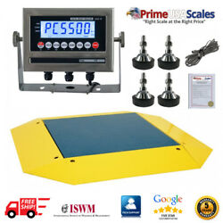 Op-960 Pancake Floor Scale 4and039 X 4and039 Pallet Scale 5000 Lb Ramps 360 Degrees