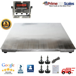 5and039x5and039 60x60 Stainless Steel Floor Scale And Indicator   Wash Down   5000 Lb
