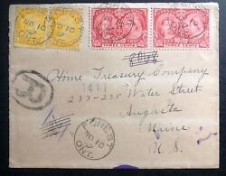 1897 Forest Canada Vintage Cover To Augusta Me Usa Queen Victoria Mixed Stamp