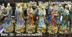 Sign China 100% Pure Bronze 24K Gold cloisonne twelve zodiac animals Statue Set