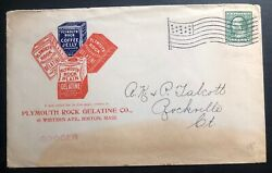 1890s Boston Ma Usa Advertising Cover Plymouth Rock Gelatine Co Flag Cancel